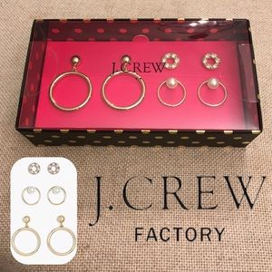 J. Crew Boxed Set Gold Dangle Hoops Crystal Circle